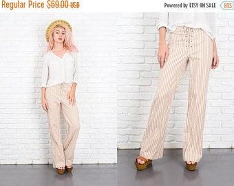 Sale Vintage 70s White + Beige Striped Print Pants Trousers Corset Tie Small S 9998
