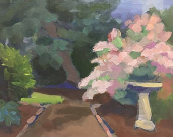 Garden Walkway Small Landscape Oil Painting Plein Air