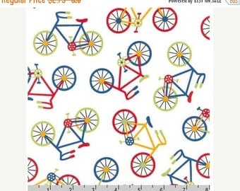 SUMMER SALE Fat Quarters ONLY - Bright Bicycles from Robert Kaufman's Ready Set Go 2 Collection