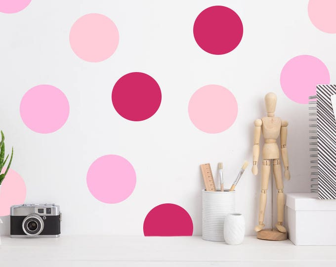 "Pink Polka Dot Decals // Peel and Stick Polka Dots  // 220 -  2"" dots per pack // Polka Dots Wall Decals // Nursery Wall Decor"