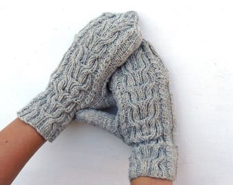 Hand knitted convertible gloves, knit gray wool hooded gloves, grey cabriolet winter gloves, adult gloves, aran cabled arm warmers, mittens