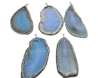 10% off July 4th JUMBO Freeform Blue Agate Pendant with Rhinestone Pave and Silver Plated Bail (S93B14-05)