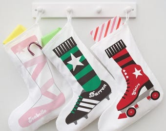Personalised SHOE STOCKING - 8 designs to choose from  - Twist on the traditional with our alternative Christmas Stocking. 100% Cotton.