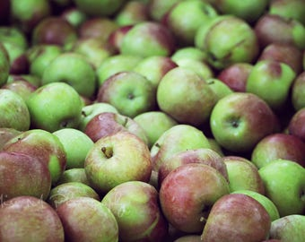 Apples, Farmers Market, Rustic, Fruit, Summer, Kitchen, Green, Natural, Country, Farmhouse, Home Decor, Original Fine Art Photograph, Print