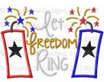 Let Freedom Ring - 4th of July Custom Applique Shirt -Ruffle or Flutter Tee