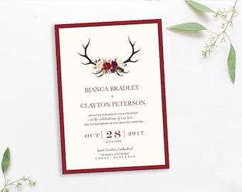 Antler Wedding Invitations, rustic wedding invite set, watercolor wedding invitation BIANCA - DEPOSIT