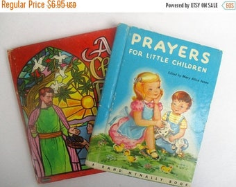 40% Summer SALE Prayers For Little Children and A Child's Friend, 1940s (2) children's collectible books~Rand McNally, Whitman Mary Alice Jo