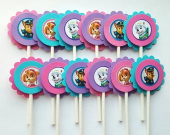 Paw Patrol Inspired Cupcake Toppers - Pink, Purple & Blue - Qty: 12 - Skye, Everest, Chase Paw Patrol Birthday Party