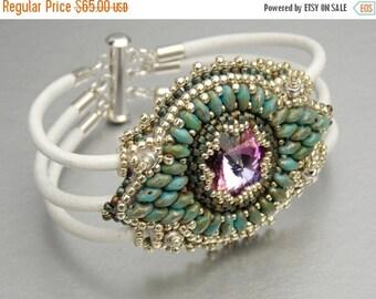 Summer sale Free Shipping, Maracesh, Bead Embroidery, Bracelet , Statement cuff, Seed bead bracelet, Skinned bracelet , Silver, Turquoise, W