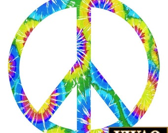 Wall Decals Peace Sign Fun Tie Dye Groovy Peace Love Hippie PC7 Retro 70s Vintage Flower Power