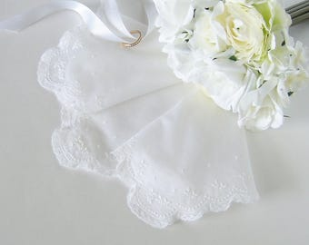 Lace Wedding Handkerchief, Vintage Hanky for a Bride, Something Old Shower Gift, Heirloom Quality White Lace Bridal Handkerchief
