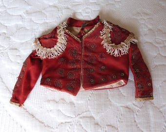 Rare antique Spanish red matador bull fighting jacket costume vestment for doll w metallic silver gold sequins thread, sequins, glitters