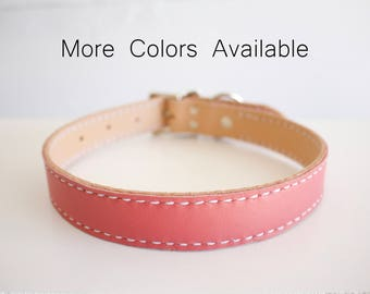 Large Custom Leather Dog Collar - lined leather dog collar, large leather dog collar, pink dog collar, personalized, female, male, girl