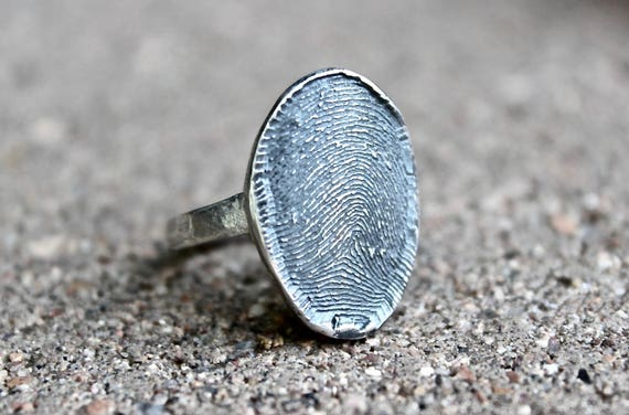 Fingerprint Ring, Full Fingerprint Ring, Memorial Fingerprint Ring, Finger Print Oval Ring, Real Full Fingerprint Ring, Sterling Silver Ring