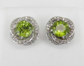 Peridot and Diamond Stud Earrings Halo Studs 14K White Gold August Birthstone