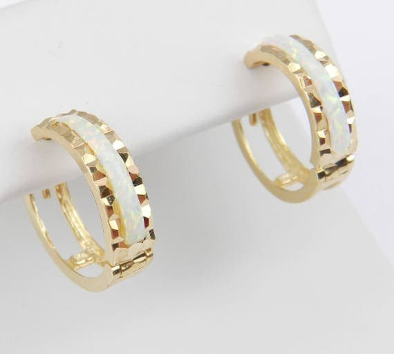 14K Yellow Gold Opal Inlay Hoop Earrings Hoops FREE SHIPPING Fine Jewelry Perfect Gift