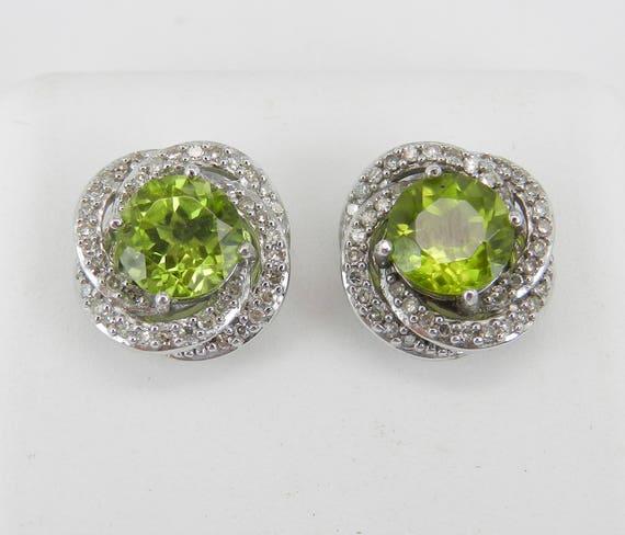 Peridot and Diamond Stud Earrings Halo Studs 14K White Gold August Birthstone