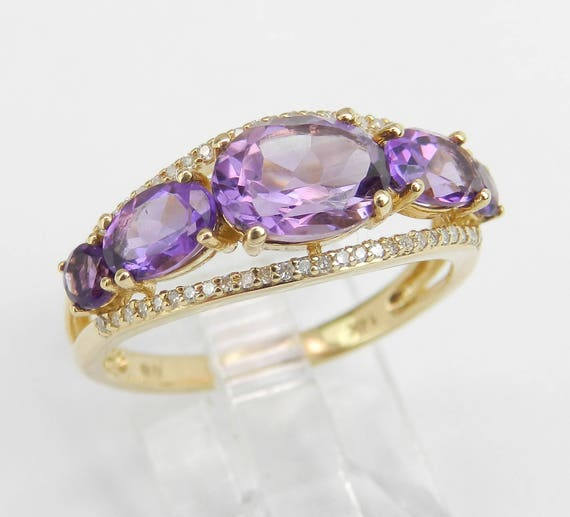14K Yellow Gold Diamond and Amethyst Cocktail Ring Anniversary Band Size 7 Stackable Look