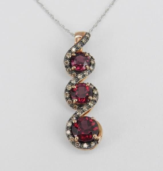 "Garnet and Diamond Three Stone Pendant Necklace Rose White Gold 18"" Chain January Birthday"