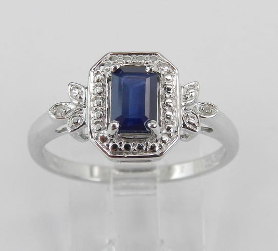 Diamond and Sapphire Engagement Promise Ring 14K White Gold Size 7 September Gem