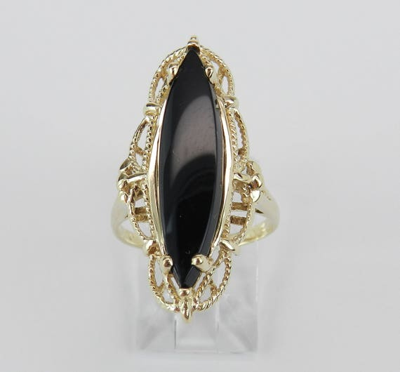 Antique Vintage 14K Yellow Gold Black Onyx Cocktail Solitaire Ring Size 6