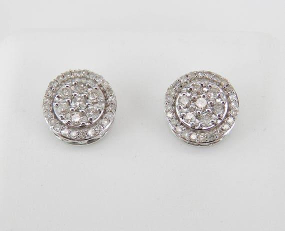 White Gold Diamond Studs Cluster Halo Stud Earrings Gold Wedding Gift