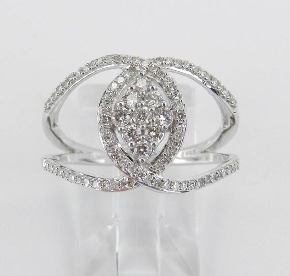 White Gold Diamond Ring Twist Crossover Journey Fashion Style Design Size 7.25