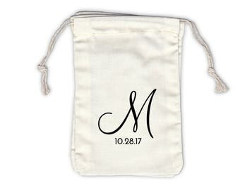 Script Monogram and Date Personalized Cotton Bags for Party or Wedding Favors in Black - Ivory Fabric Drawstring Bags - Set of 12 (1047)