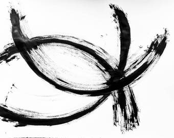 Joy,Black and White Minimalist Painting,Original Black and White Painting,Ink Painting, Minimalist Artwork,Minimalist Abstract,Sumi e
