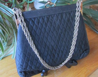 Vintage HL Harry Levine Black and Gold Evening Purse Long Chain