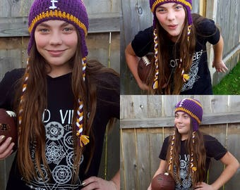 FREE SHIPPING - Super Cute Crochet Football Earflap Style Hat-Braided Tails-Available in Sizes Newborn-Adult-Photo Prop