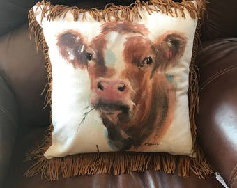 Little brown calf cow hand painted pillow cover  15x15
