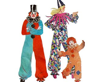 Toddler Clown Costume Size 2 McCalls 3353 Collar Variations Chest 21 Vintage 1970s Poirot Theatre Play Easy to Sew Vintage Sewing Pattern