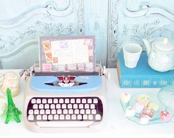 Blue Vintage Royal Manual Portable Typewriter with Case