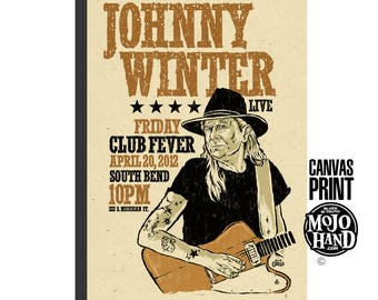 "large 24""x36"" - stretched on wood frame - archival quality - Johnny Winter concert poster -  Blues art print - huge, framed"