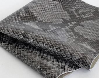 Python Print Genuine Leather, Gray Snakeskin Print Leather, Soft Cowhide
