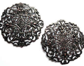 Large Filigree Compact Top, Brass Filigree, Rusted Iron Brass, Vintage Supplies, Us Made, Nickel Free, Bsue Boutiques, 83mm, Item03276