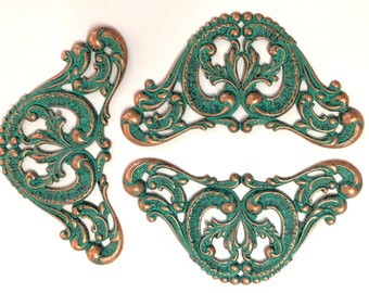 Winged Brass Stampings, 3 Piece, Large Victorian Centerpiece, Winged Motif, Statement Piece, US Made, B'sue, Aqua Copper, 48x84mm,Item03435