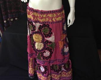 Handmade Embroidered Suzani Tiered BOHO Skirt Women's Size US 8 -10 Gypsy Tribal Uber Kuchi