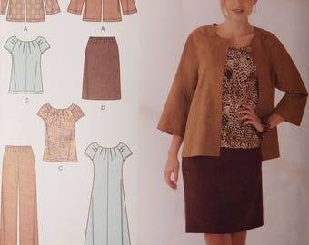 Womens Fashion Ensemble, Skirt, Pants, Dress, Top, Jacket, New Simplicity Sewing Pattern 2372, Misses Fashion Sizes AA 10, 12, 14, 16, 18