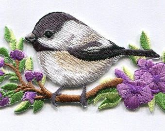 BIRD CHICKADEE ON branch iron on patch applique