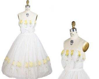 ON SALE 1950s Dress // Strapless Flocked Yellow Rose Full Bubble Skirt Party Dress