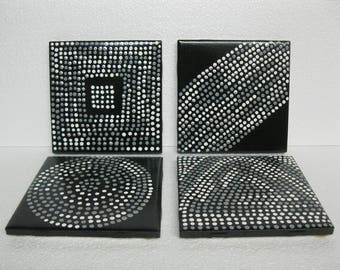 Coasters, Handpainted, Set of Four, READY TO SHIP