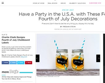 Fourth of July Party Supplies, NON TOXIC Chalkboard Labels seen on People Mag.Com, 4th of July Labels, Mason Jar labels, Made in the USA