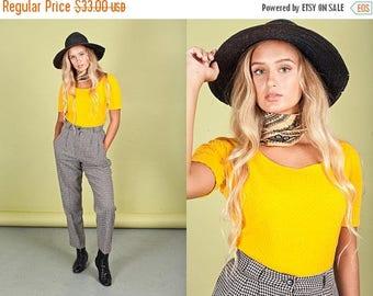 FLASH SALE 80s Sunflower Yellow Bodysuit Vintage Bright Short Sleeve Top