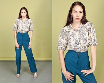 70s Teal Green Trousers Vintage Button High Waist Pants