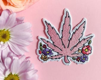 Pink Weed Flower Iron On Patch