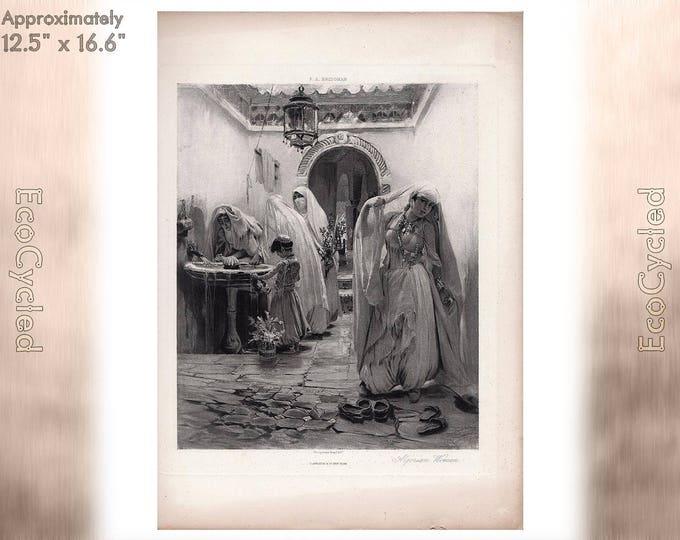 Algerian Women by FA Bridgman Frederick Arthur Bridgman Antique Photogravure Print Goupil Vintage Paper Ephemera zyxG17