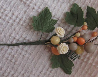 gray peach and cream floral picks set of 24 satin roses berries wedding supplies