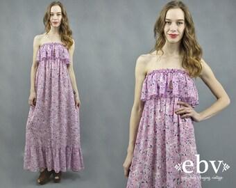 Hippie Dress Hippy Dress Boho Dress Flower Child Dress 90s Maxi Dress Strapless Summer Dress 90s does 70s Dress 1990s Dress Purple Dress S